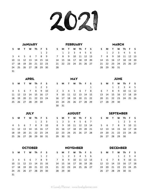 24 Pretty Free Printable One Page Calendars For 2021 Lovely Planner Calendar Printables Minimalist Calendar Monthly Calendar Printable