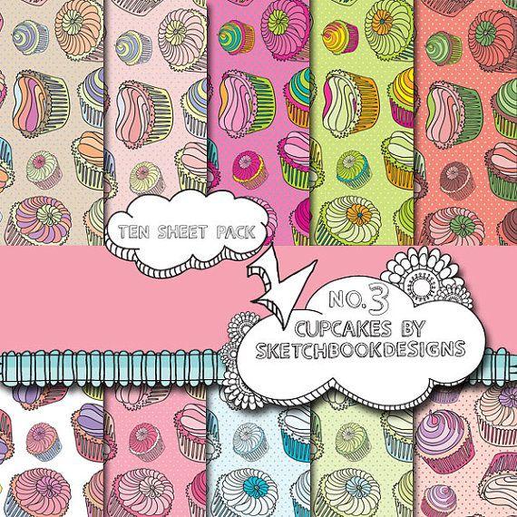 Digital papers  Cute Cupcake Set No. 3  DIY by SketchbookdesignsAu, $3.00