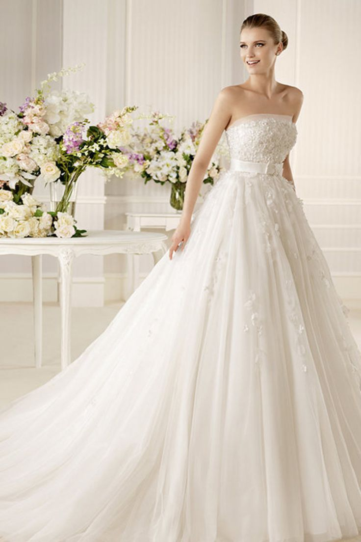 2013 Wedding Dresses A Line Strapless Court Train Tulle PCFCALLD for sale