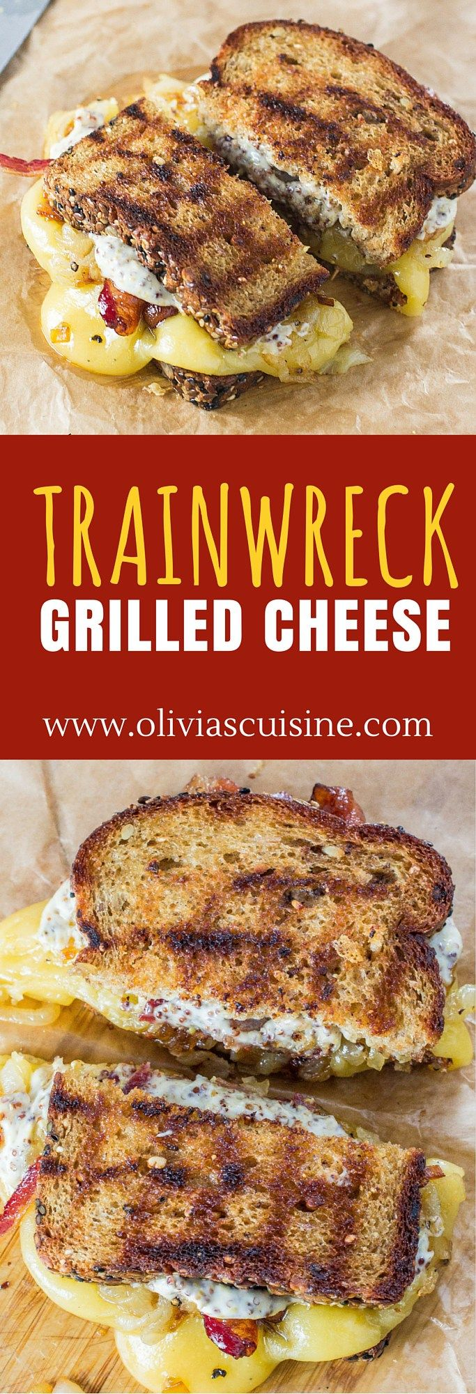Trainwreck Grilled Cheese | www.oliviascuisine.com | Gouda cheese, caramelized onions and Maple Whiskey bacon join forces to create the most amazing grilled cheese ever! (Sponsored by Arla Dofino)
