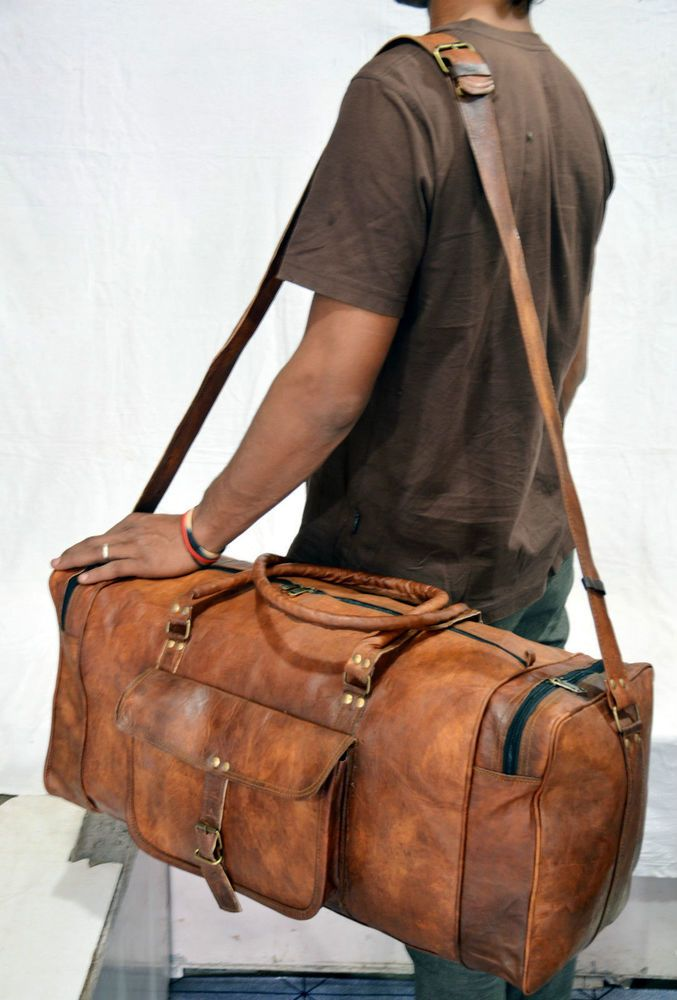 New Men/'s genuine Brown Leather Retro vintage Large Round duffle travel gym bag