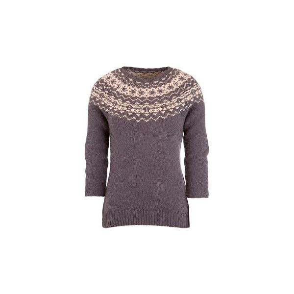 MALHAM - Womens Fairisle Jumper in Knitwear at the Joules Clothing (315 RON) ❤ liked on Polyvore featuring tops, sweaters, jumpers, outerwear, knitwear sweater, joules jumpers, purple sweater, fairisle sweater and fairisle jumper