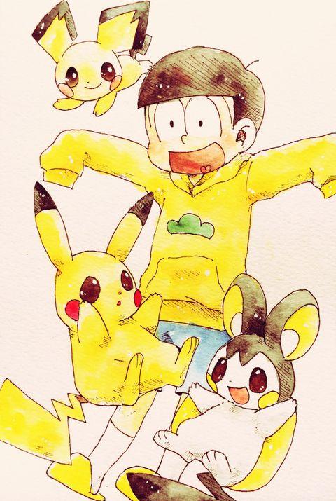 「おそ松さんlog」/「mkt」の漫画 [pixiv] #Pokemon #Pichu #Pikachu #Emolga