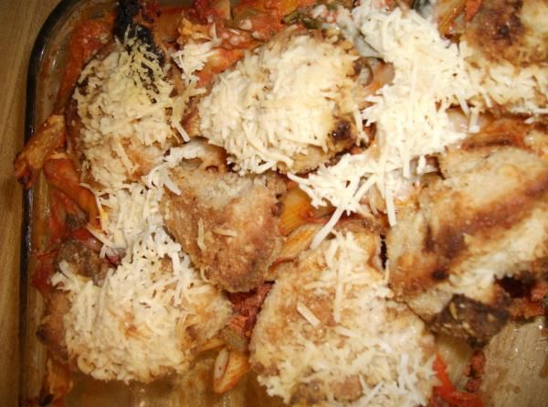Parmesan Crusted Chicken with Penne Rosa Recipe