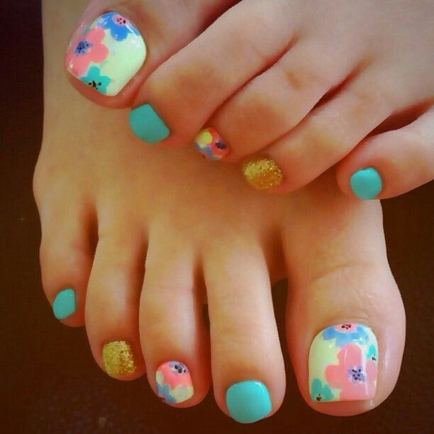 Yellow Nail Polish Toenails: Floral Nail Art - Pedicure, Pink, Aqua, Yellow