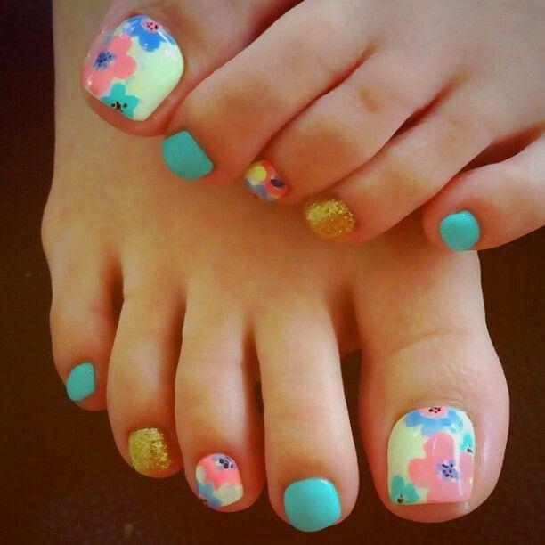 Yellow Nail Polish Toenails: Floral Nail Art - Pedicure, Pink, Aqua, Yellow