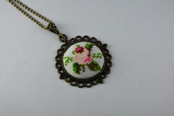 Rose cross stitch necklace, pendant gift