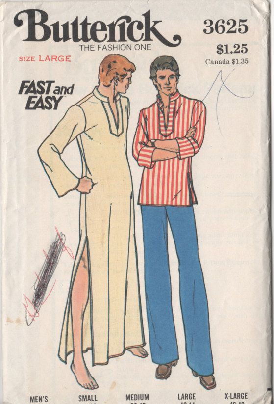 Butterick 3625 ©1974 Mens Caftan & Top. Loose-fitting pull-over top or long caftan has standing collar, applied front detail with slits, topstitching, and full length sleeves worn straight or rolled-up. Purchased pants.   Easy to sew.  Size Large Chest 42 - 44 Waist 36 - 39 Hip 43 - 45 Neck 16 - 16.5 Sleeve 34 - 34 Cut and complete. The length has been shorten to make the top but remains in the envelope to make longer version. Envelope has some writing on it FREE SHIPPING OFFER!!! Buy 3 p...
