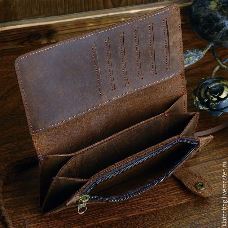 Купить Мужской бумажник / портмоне из натуральной кожи лошади crazy horse - коричневый