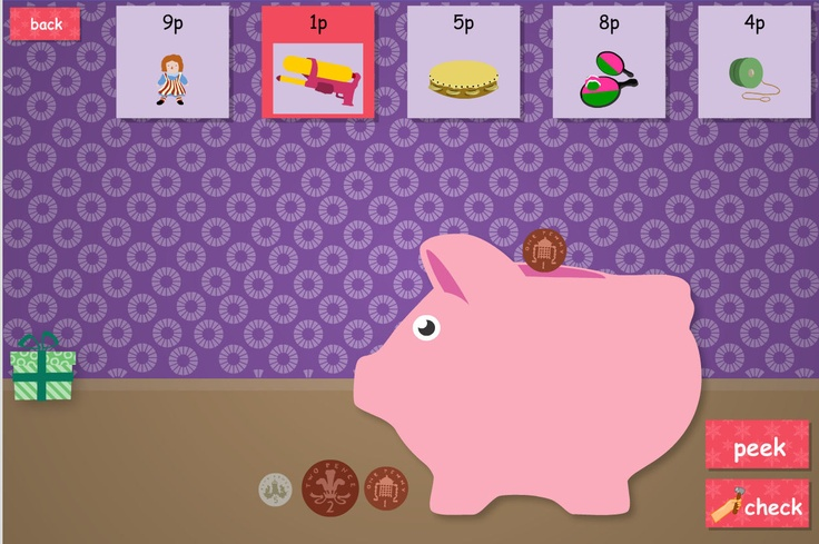 Save coins for the presents. Different levels of ability.The popular 12 Games of Christmas are now free on TES iboard. Select the correct coins to save for the 5 presents, one-by-one. Lots of differentiated levels are available to set prices and coins suitable for your children.