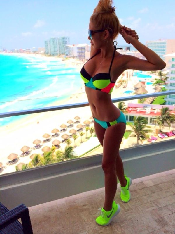 Going for a Run by zachot. Sexy outfit. Women's fashion. Running outfit. Bright colors.