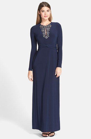 Vince Camuto Embellished Jersey Gown available at  #modestfashion #modestdress #eveningdress