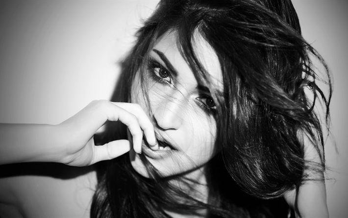Descargar fondos de pantalla 4K, Anushka Sharma, monocromo, Bollywood, belleza, retrato
