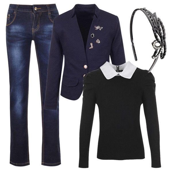 Отличный вариант для похода в кино, кафе или музей - классические джинсы, кофта-обманка и стильный приталенный пиджак.