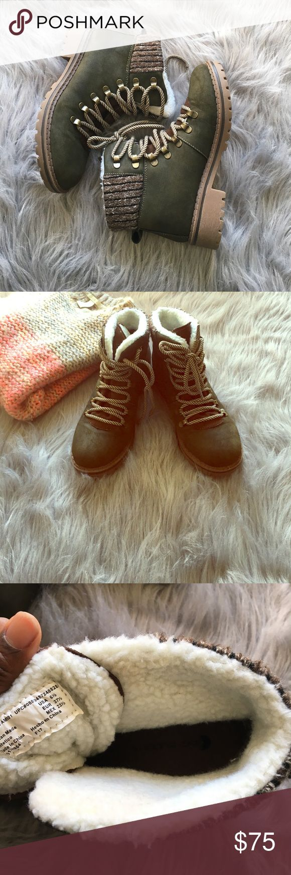 Big Buddha Boots These boots are fabulous they are EUC. Olive green with brass color eyelets on these boots they are 6.5 size Big Buddha Shoes Ankle Boots & Booties