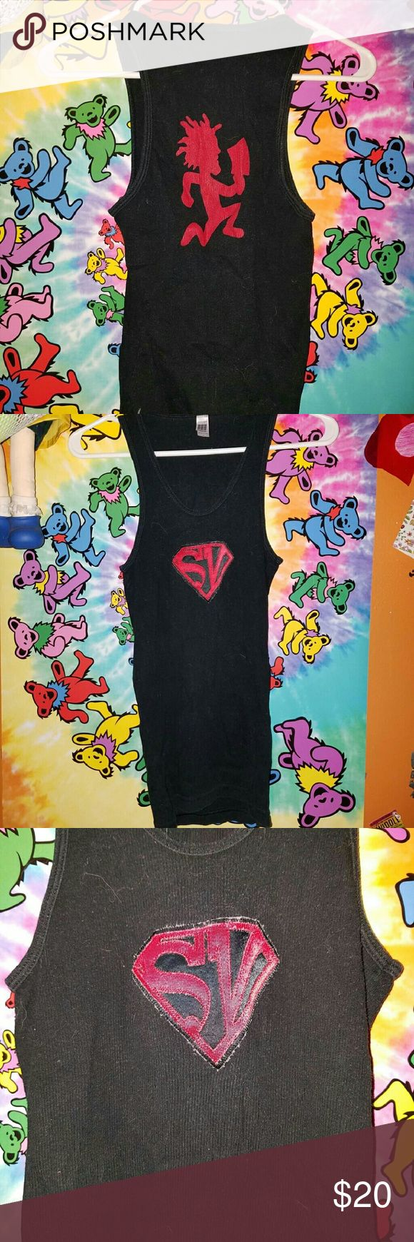 Supa Villainz Wife Beater Well loved but still super dope and rare af ?? definitelt a neccesity for a collector. Originally from hatchet gear and I promise you won't find this anywhere else. I believe supa villainz was a collab between ICP and Esham.   Tags insane clown posse juggalo juggalette hatchet man hatchetgear psychopathic records soopa villains Hot Topic Tops Tank Tops