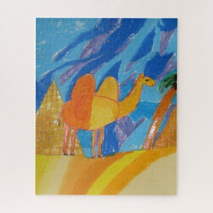 Camel Art by Kids Jigsaw Puzzle - animal gift ideas animals and pets diy customize