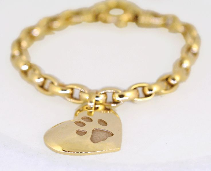 Personalised Paw Print in solid yellow gold