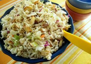 RAMEN NOODLE SALAD:  __ 1 pkg slaw;  1/4 C. green onions finely chopped;  1/2 cup toasted almond slivers;  2 packs ramen noodles (chicken flavor) broken into small pieces;  3/4 cup oil;  1 tbsp pepper (scant);  4 tbsp vinegar;  4 tbsp sugar;  1 chicken flavoring pack from ramen noodle pkg.  ___Pour, Toss, and Chill!
