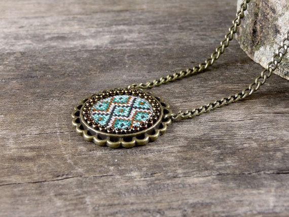 Embroidered necklaces    https://www.etsy.com/listing/254626870/cross-stitch-necklace-emerald-mint?ref=shop_home_active_1
