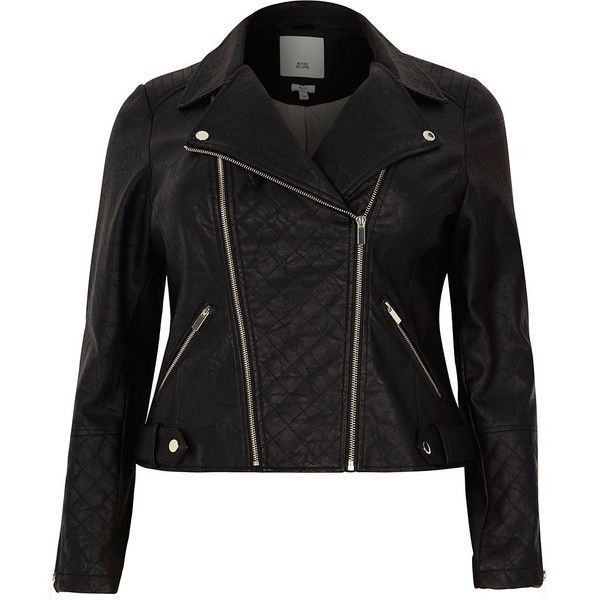 River Island Plus black faux leather biker jacket ($120) ❤ liked on Polyvore featuring outerwear, jackets, black, coats / jackets, women, biker jackets, faux-leather jackets, vegan leather moto jacket, quilted faux leather jacket and quilted jackets