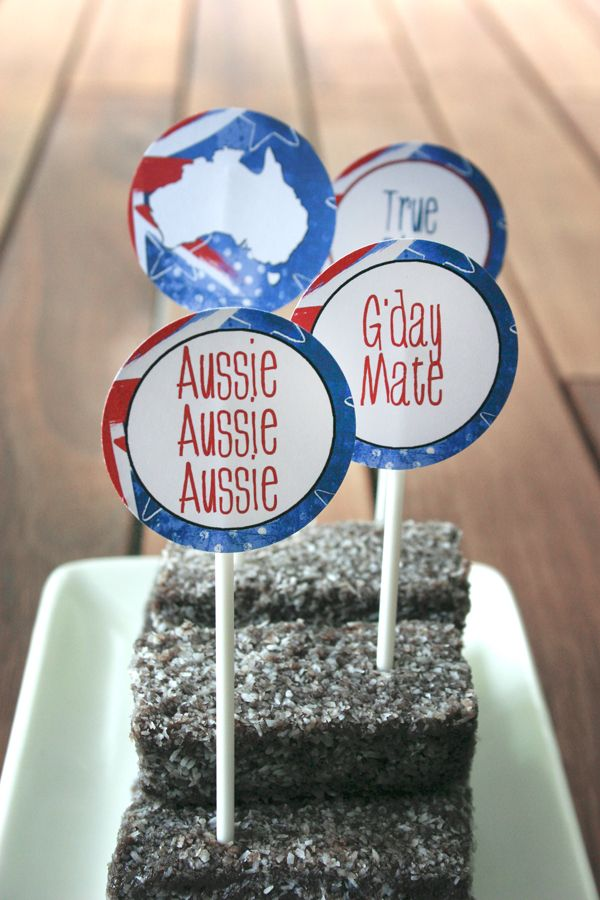 Australia Day Party Circles. | Sassaby Cupcake toppers for Australia $5.00  http://www.sassaby.com.au/shop/party/seasonal/australia_day/australia_day_party_circles