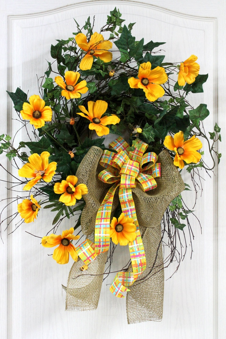 Beautiful Birch Twig Front Door Wreath, Yellow Cosmos, Bumble Bees, Brighten your Front Entrance for Spring/Summer -- FREE SHIPPING. $123.00, via Etsy.