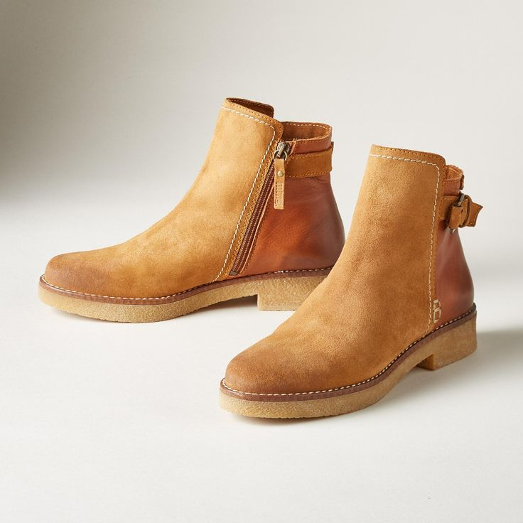 """KASEY BOOTS--Burnished suede and leather creates an effortless pairing of style and comfort in this simple silhouette with gum rubber soles. Portugal. Euro whole sizes 36 to 41. 36 (US 6), 37 (US 7), 38 (US 8), 39 (US 9), 40 (US 10), 41 (US 10.5). 1"""" heel."""