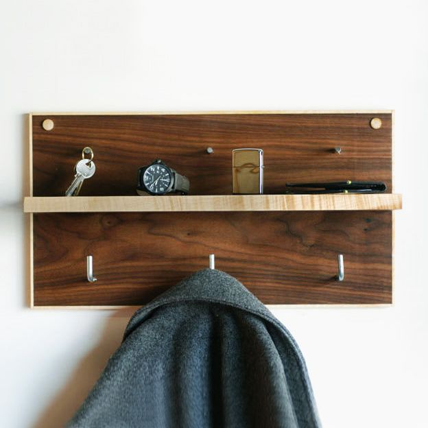 Maple and Walnut Coat Rack & Organizer | dotandbo.com