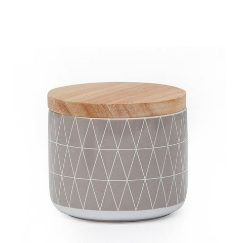 Kitchen Canister - Grey Geometric (Small)