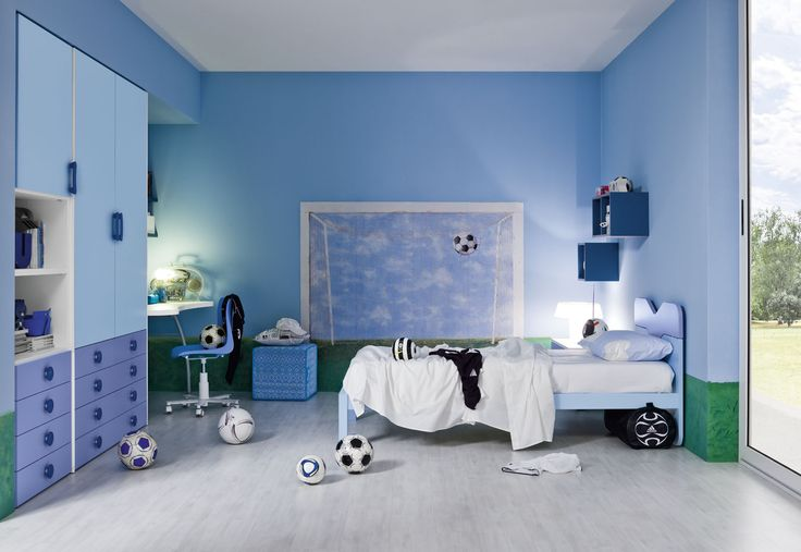 soccer themed bedroom | Above. A smart soccer themed bedroom with a goal mural as the focal ...