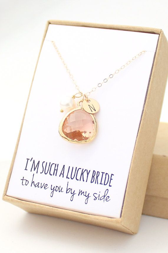 Bridesmaid Gifts - Peach Champagne / Gold Bezel Charm Necklace