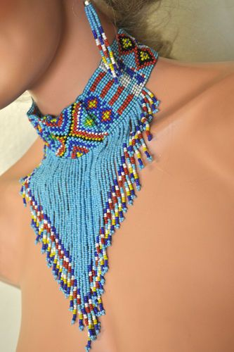 Tribal Beaded Choker Earrings American Indian Pocahontas Turq. Costume Jewelry
