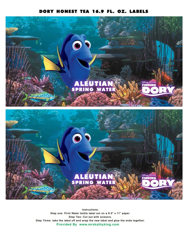 Finding Dory Printable Honest Tea Bottle Wrapper Findingdory Party Ideas