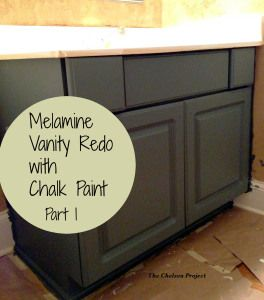 Melamine bath vanity refinished with chalk paint without stripping, sanding, or priming Part I of II (10) #poppiespaintpowder | TheChelseaProjectBlog.Wordpress.com