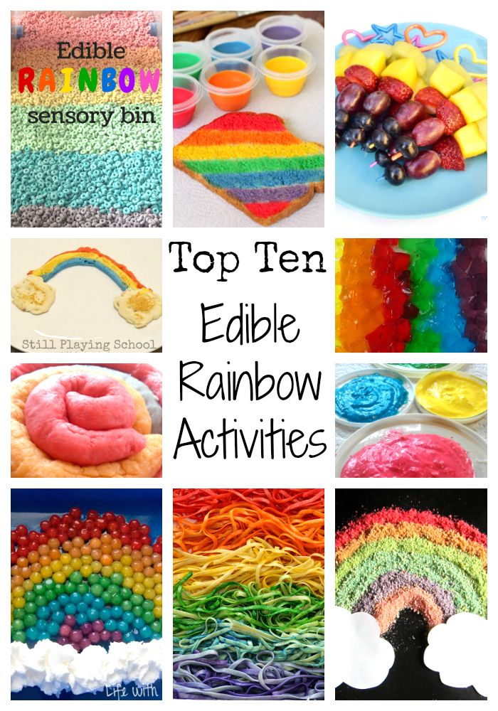 Top 10 Edible Rainbow Activities. These rainbow inspired sensory bins and snacks are all edible and suitable for toddlers and preschoolers.