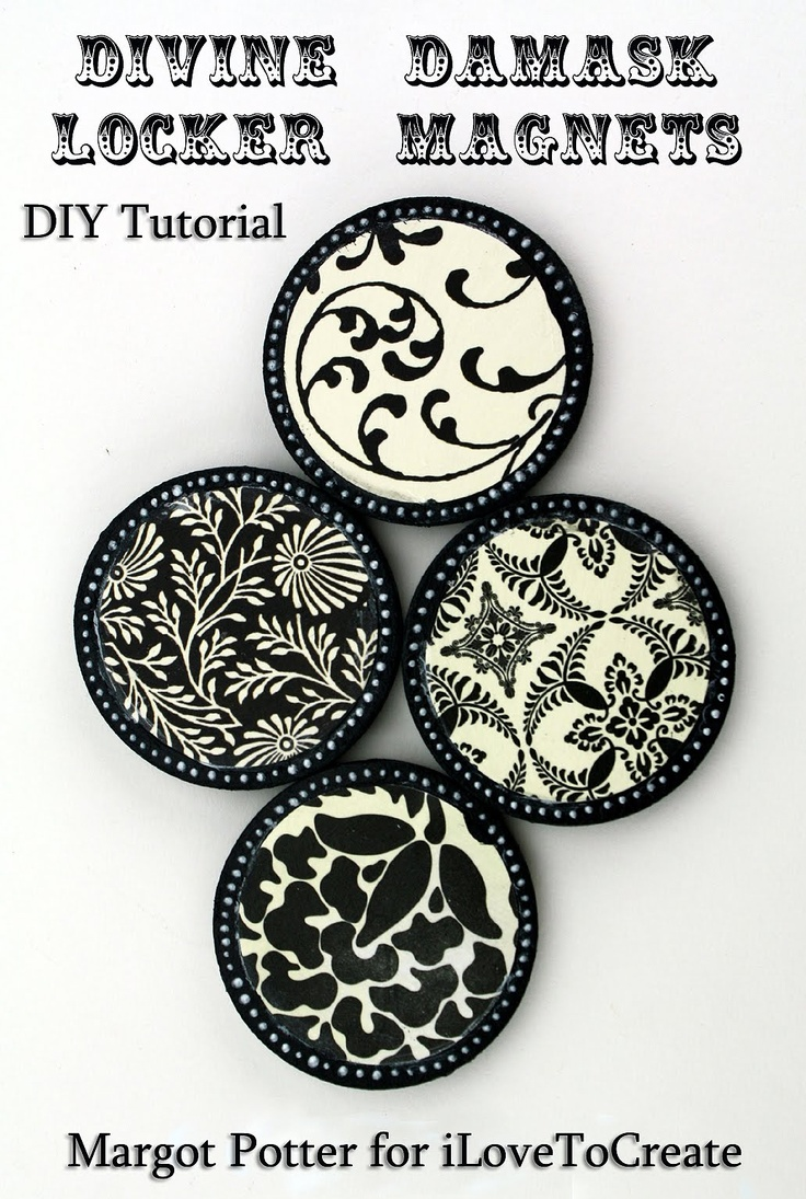 Margot Potter: iLoveToCreate Teen Crafts: Divine Damask Locker Magnets (using wooden blanks and scrapbook paper)
