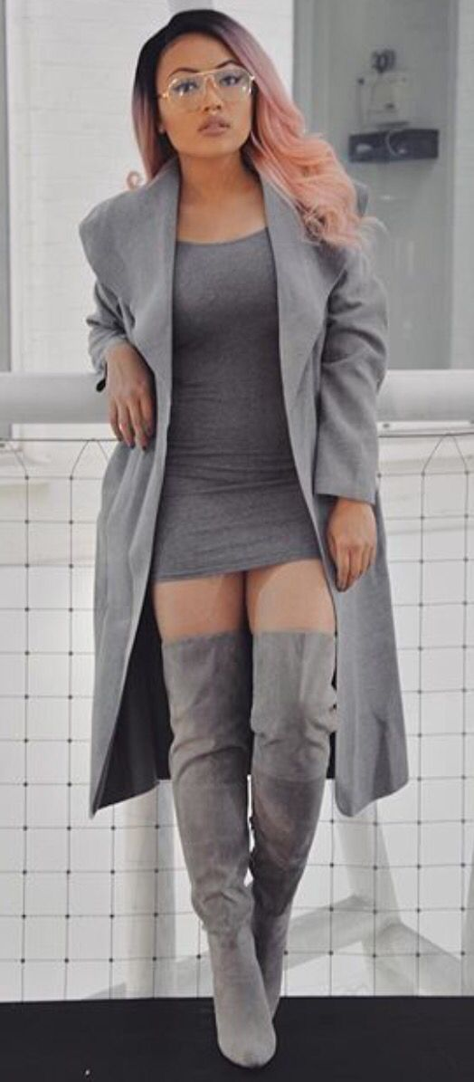 Art bodycon dress knee high boots outfit ideas side boohoo