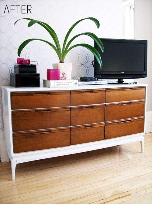 Retro Dresser Updated By Painting The Frame White Drawers Were Left As They Found Dwelling In 2018 Pinterest Furniture And