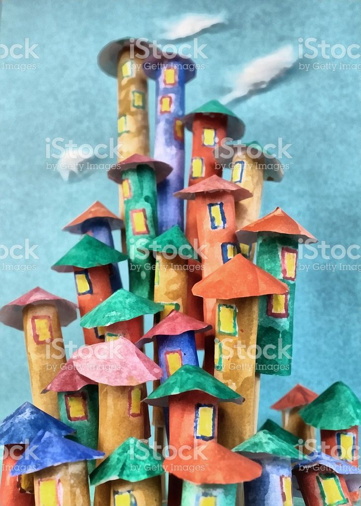 Colorful Fairy City royalty-free stock photo