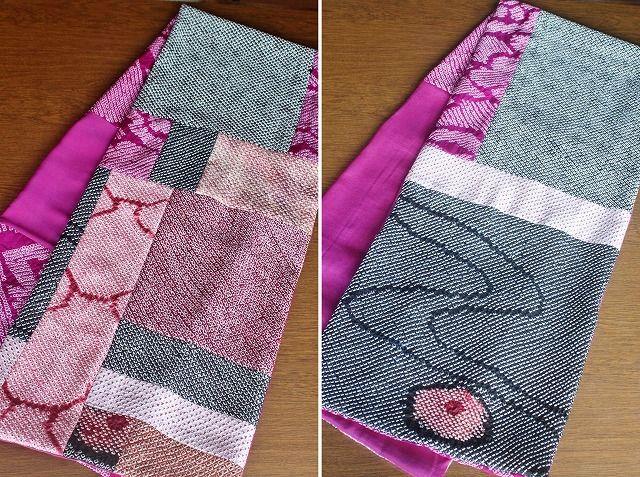 着物リメイク・絞りの羽織から作ったパッチワークショール