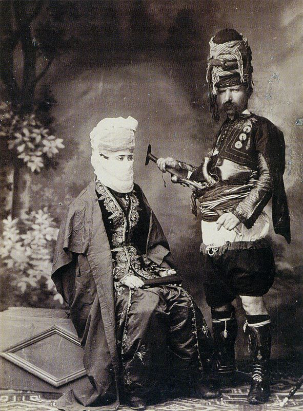 Turkish lady and the zeibeck c. 1875, Albumen print, Collection Pierre de Gigord, Paris.