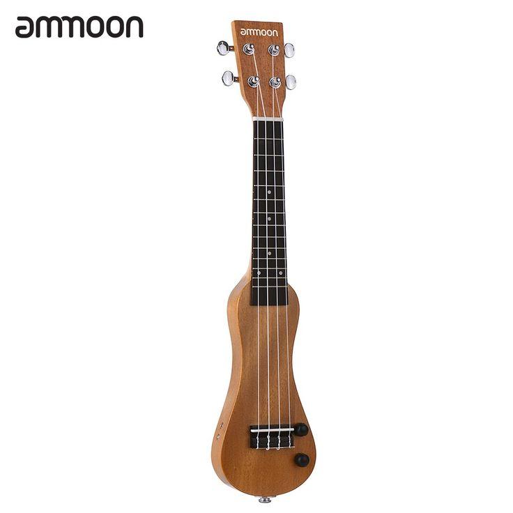 "ammoon 21"" Solid Wood Electric Ukulele Ukelele Uke Mahogany Sales Online brown - Tomtop.com"