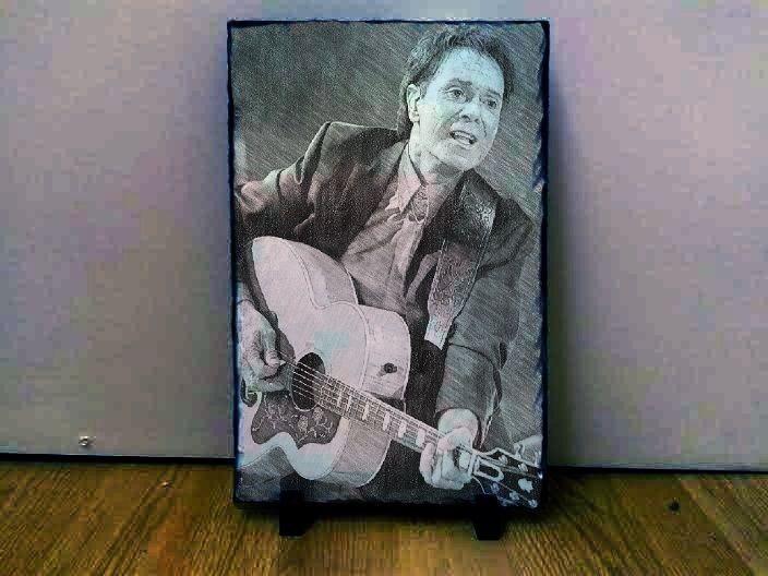 "Sir Cliff Richard Art Portrait on Slate 12x8"" Rare memorabilia collectables"