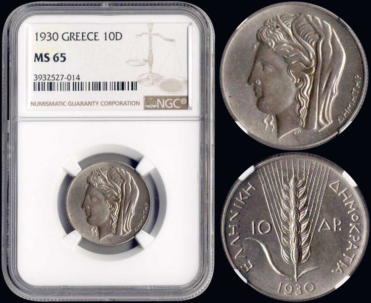 "10 drx (1930) in silver (0,500) with ""Demeter"". Inside slab by NGC ""MS 65"". Top grade in both companies. (Hellas 178)."