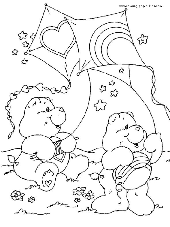 Care Bears With Kites Coloring Page