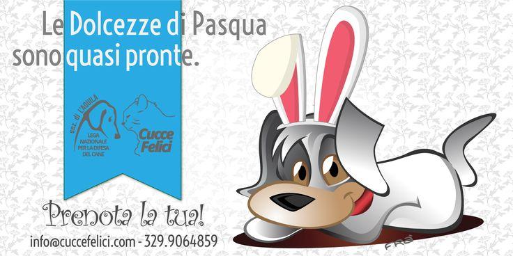 Prenota le tue #dolcezze di #Pasqua: aiuterai i #volontari della #LegadelCane di #LAquila ad accudire i #randagi, in #Rifugio e sul #territorio.