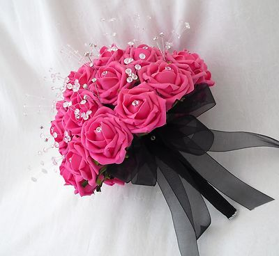wedding flowers brides posy bouquet in hot pink roses crystals and diamantes