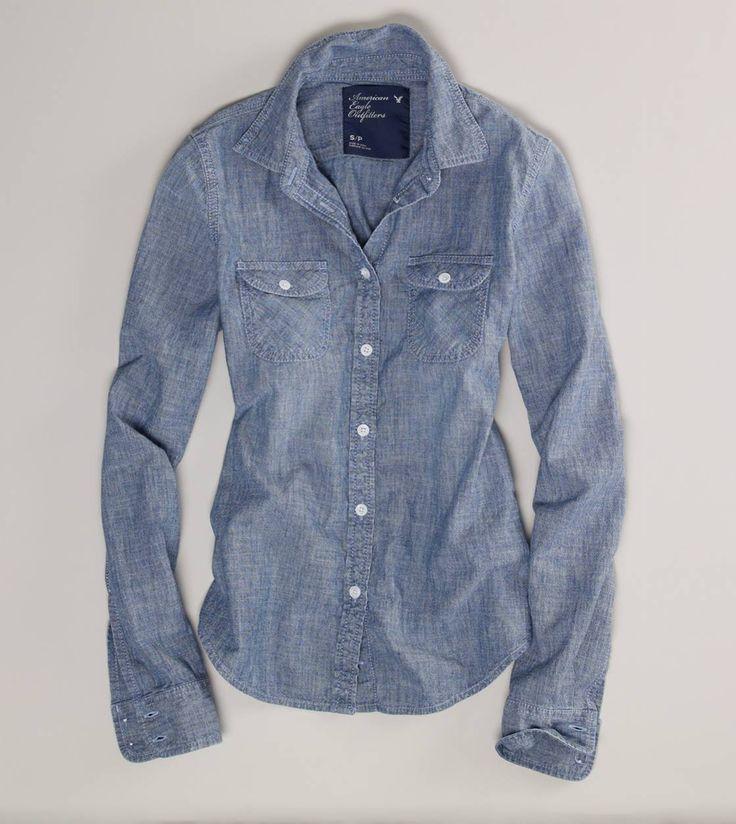AE Chambray Western ShirtCowboy Boots, American Eagles Outfitters, Chambray Shirts, Denim Shirts, Riding Boots, Ae Chambray, White Jeans, Westerns Shirts, Chambray Westerns