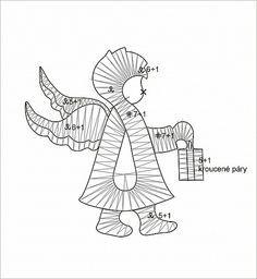 Sedlická krajka Andílek s lucernou Popis: andílka začínáme od hlavy polohodem, ve vyznačené části krku přecházíme na pláténko. Pak vytvoříme větší křídlo - následuje menší zadní (zkušenější krajkářky mohou křídlem táhnout pláténkový pár-vyznačen tučně). Doděláme nohy a ruku s lucerničkou.